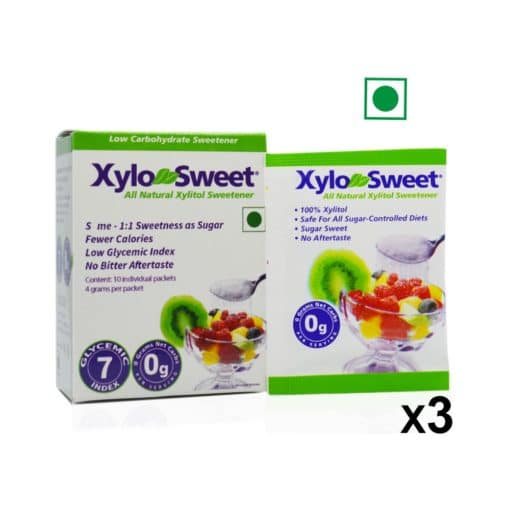 XyloSweet Xylitol Sweetener - 10 count 4gms Sachets- 3 Pack